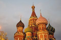 Colorful onions of Saint Basils Cathedral in Moscow at night royalty free stock image
