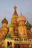 Colorful onions of Saint Basils Cathedral in Moscow at night royalty free stock photos