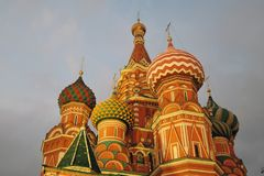 Colorful onions of Saint Basils Cathedral in Moscow at night royalty free stock photo