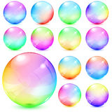 Colorful opaque glass spheres. Set of colorful opaque glass spheres Stock Photography