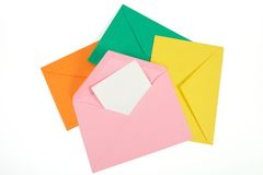 Colorful open envelope with paper Isolated Royalty Free Stock Photo