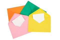 Colorful open envelope with paper Isolated Stock Photography