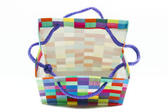 Colorful Open Patterned Gift Bag on White Stock Photo