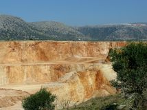 A colorful open pit mine in the south of Europe Stock Photography
