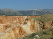 A colorful open pit mine in the south of Europe Royalty Free Stock Photography