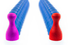 Colorful Opposing Pawns Royalty Free Stock Image