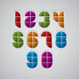 Colorful optical geometric sectored numbers with white outline. Stock Photos