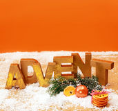 Colorful orange Advent still life background Royalty Free Stock Images