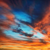 Colorful orange and blue dramatic sky Royalty Free Stock Photography
