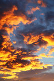 Colorful orange and blue dramatic sky. With clouds for abstract background Stock Photography