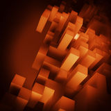 3D orange cubes background. Colorful orange boxes - abstract wallpaper Stock Photo
