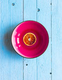Colorful Orange fruits over a light blue painted wood table Royalty Free Stock Image