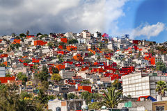 Colorful Orange Houses Suburbs Rainstorm Mexico City Mexico Royalty Free Stock Photo