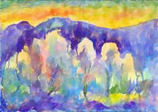 Colorful Orange Spring Sunset. Watercolor painting royalty free illustration