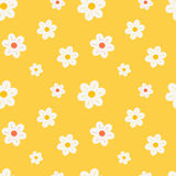 Colorful orange white and yellow daisy flowers seamless pattern background illustration Stock Images