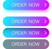 Colorful order now web buttons isolated on white. Blue and purple spectrum order now web buttons isolated on white background. Vector illustration Stock Images