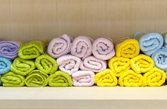 Colorful and orderly towels Stock Image