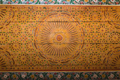 Colorful oriental Ceiling fragment inside the Bahia palace Royalty Free Stock Photos