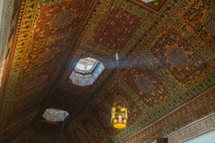 Colorful oriental Ceiling fragment inside the Bahia palace Stock Photo