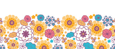 Colorful oriental flowers horizontal seamless Stock Photography