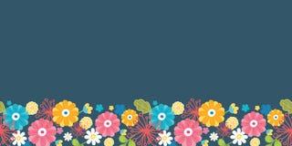 Colorful oriental flowers horizontal seamless Stock Photo