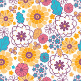 Colorful oriental flowers seamless pattern Royalty Free Stock Image