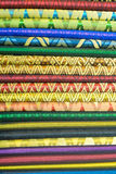 Colorful oriental material in souvenir shop in tourist market of Royalty Free Stock Image