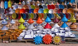 Colorful oriental pottery bazaar Stock Photos