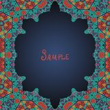 Colorful oriental style frame. (Persian, Arabian, Gypsy or Indian Royalty Free Stock Photo