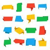 Colorful origami banners set. Vintage vector labels and badges. Stock Image