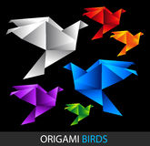 Colorful origami birds