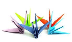 Colorful origami birds Stock Images
