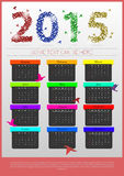 Colorful origami calendar 2015 year. banner template. Vector. Illustration Royalty Free Stock Photos
