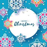 Colorful Origami Christmas Greetings card. Snowfall. Paper cut snow flake. Happy New Year invitation. Winter snowflakes. Background. Circle frame. Space for vector illustration