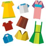 Colorful origami clothes vector on white. Background Stock Photo
