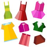 Colorful origami clothes collection vector on white. Colorful origami clothes vector on white background Royalty Free Stock Images