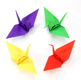 Colorful Origami cranes Royalty Free Stock Images
