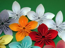 Colorful origami flowers Stock Photos