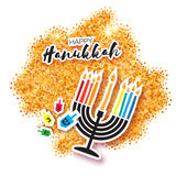 Colorful Origami Happy Hanukkah Greeting card on gold glitter background Royalty Free Stock Photography