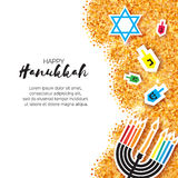 Colorful Origami Happy Hanukkah Greeting card on gold glitter background royalty free stock image