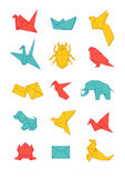 Colorful origami icons pack. Paper origami simple objects, isolated stock illustration