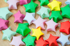 Colorful origami lucky stars. Close-up Stock Image