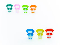 Colorful Origami Ninja. S are cute and playing together. (Origami Royalty Free Stock Photography