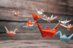 Colorful origami paper cranes Stock Image