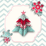 Colorful origami tree with snowflakes, abstract Stock Images