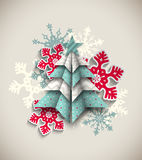 Colorful origami tree with snowflakes, abstract Stock Photo