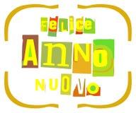 Colorful Original Happy New Year greeting card in italian stock illustration