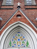 Colorful ornament on church wall royalty free stock photo