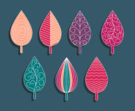 Colorful ornament elements set of leaves. Stock Photos