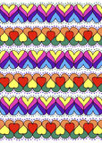 Colorful ornament of hearts. Abstract background texture. Hand drawn. Royalty Free Stock Images